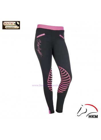 Legging HKM Starlight - noir / fuschia