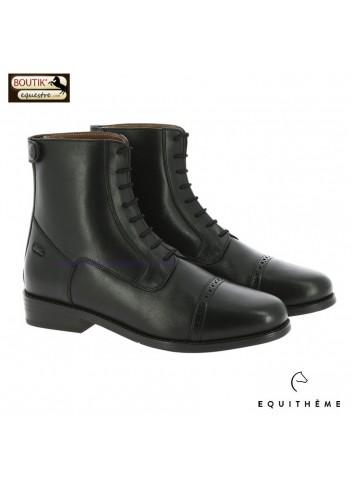 Boots EQUITHEME Dauville à lacets et zip - noir