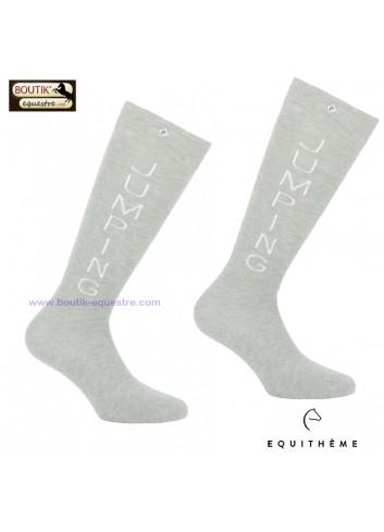 Chaussettes EQUITHEME Jumping - gris clair - blanc